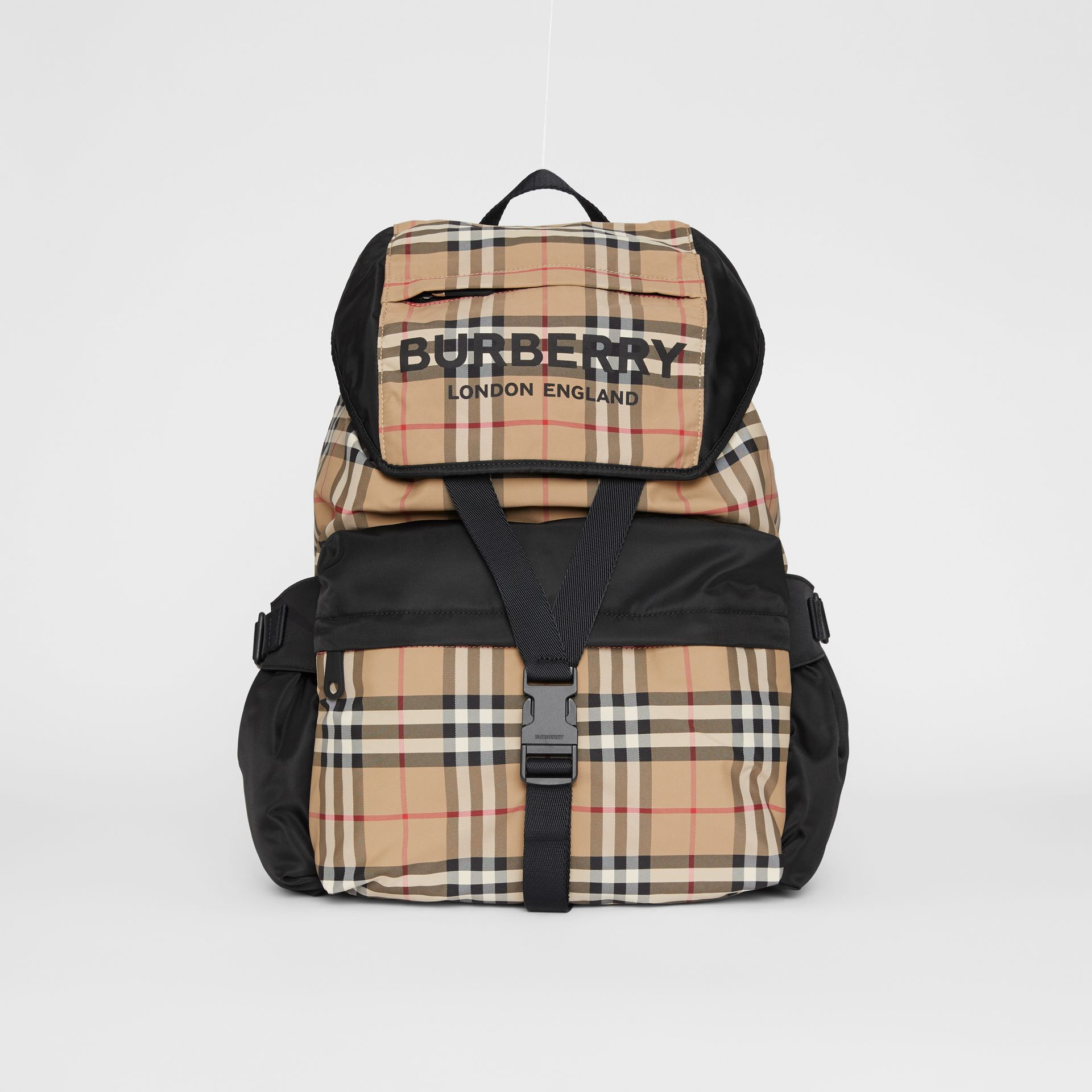 Logo Print Vintage Check Backpack in Archive Beige - Women | Burberry - gallery image 0