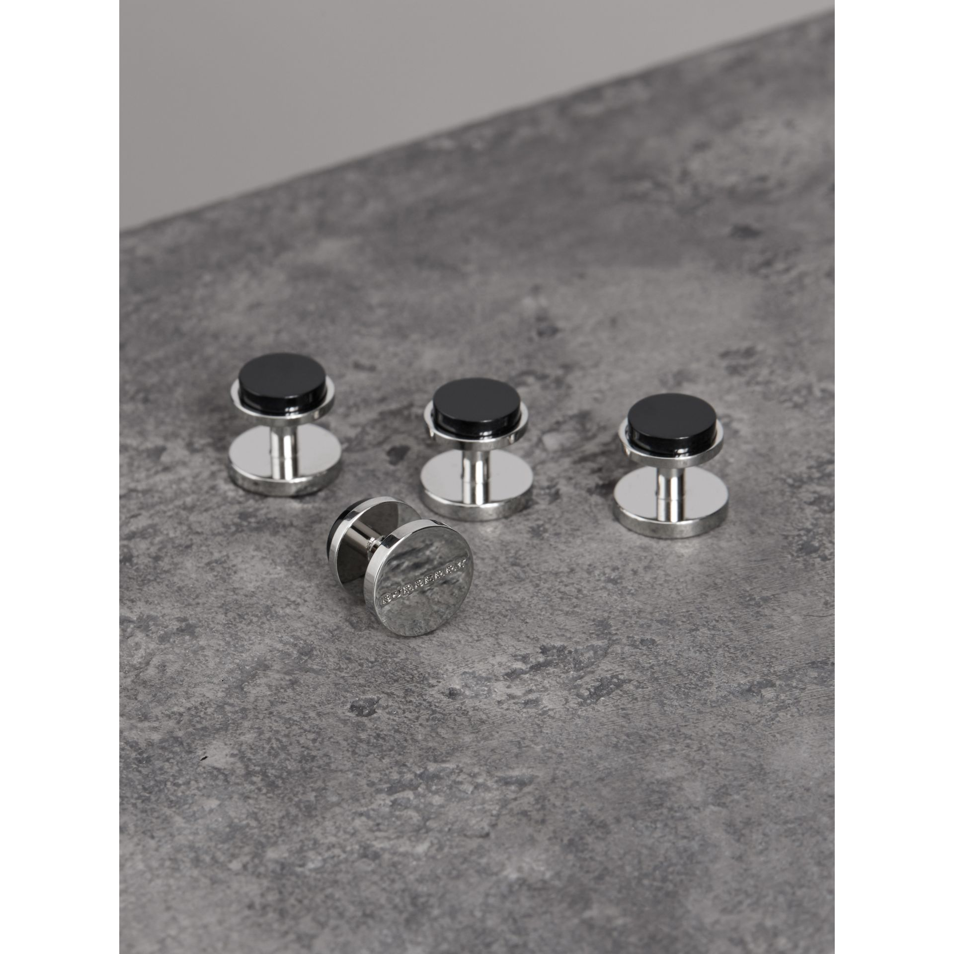 Engraved Agate Stud and Cufflink Set in Black - Men | Burberry - gallery image 3