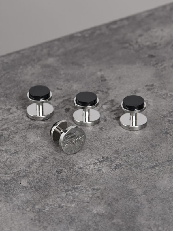Engraved Agate Stud and Cufflink Set in Black - Men | Burberry - cell image 3