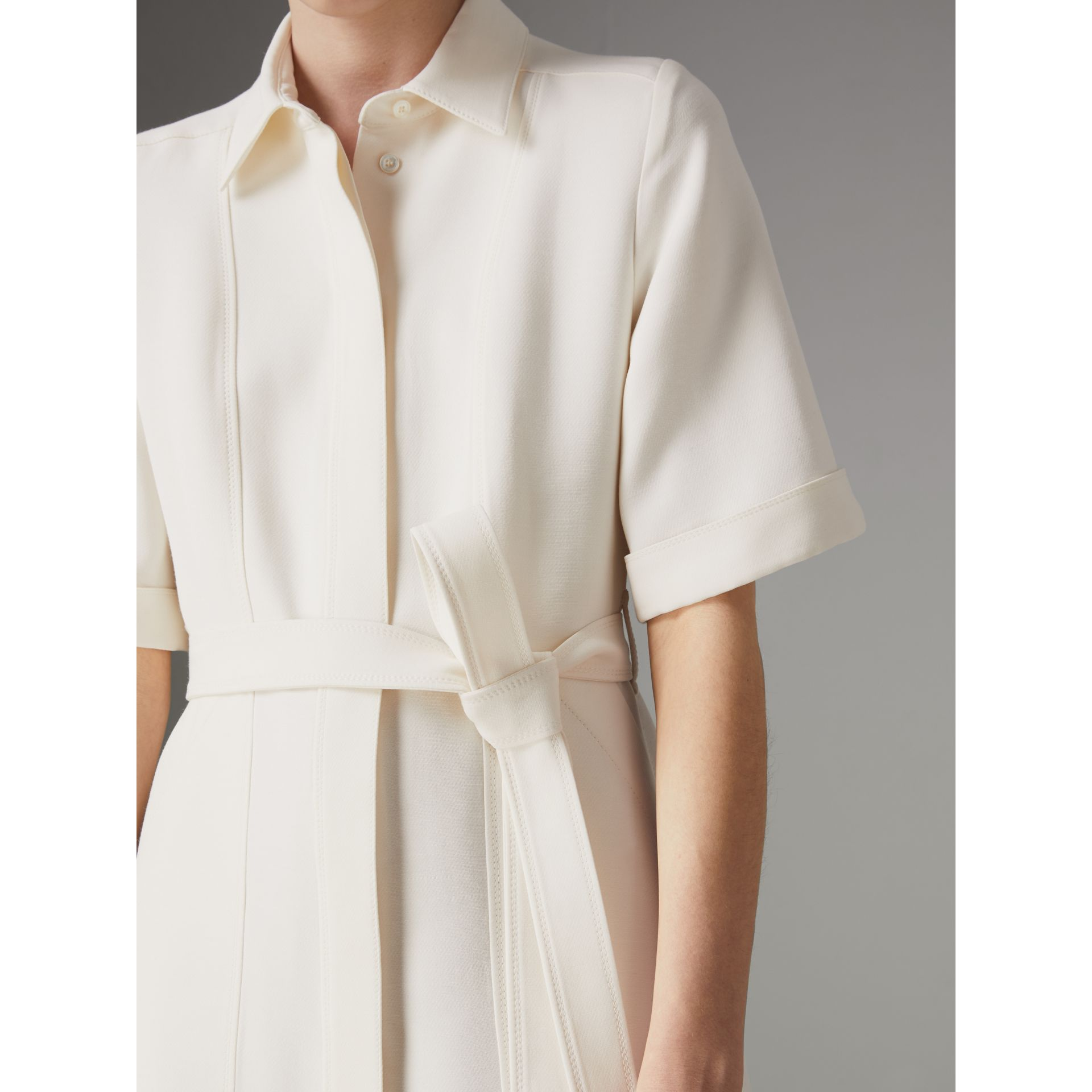 Short-sleeve Wool Silk Shirt Dress in Off White - Women | Burberry Canada - gallery image 1