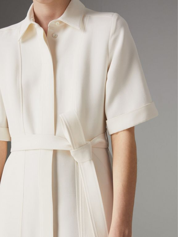Short-sleeve Wool Silk Shirt Dress in Off White - Women | Burberry Canada - cell image 1