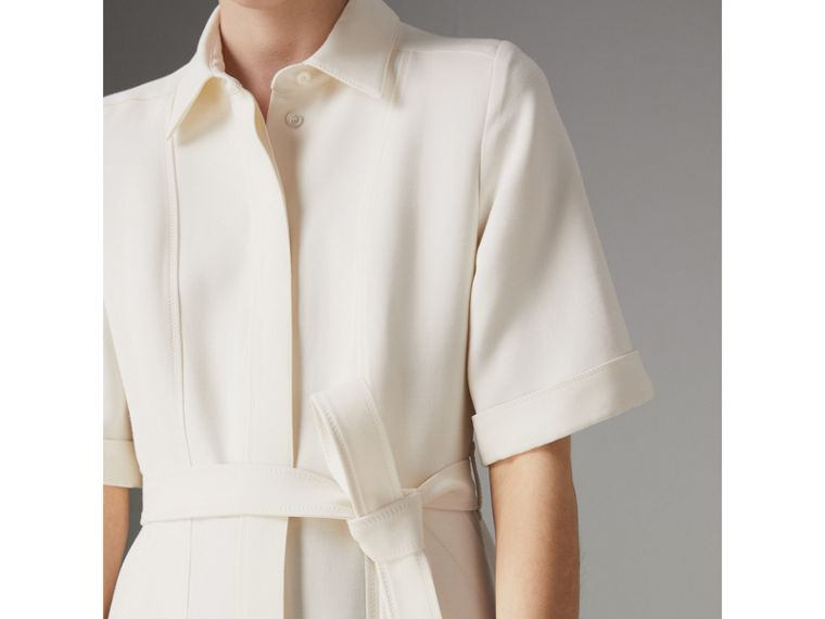 Short-sleeve Wool Silk Shirt Dress in Off White - Women | Burberry Singapore - cell image 1