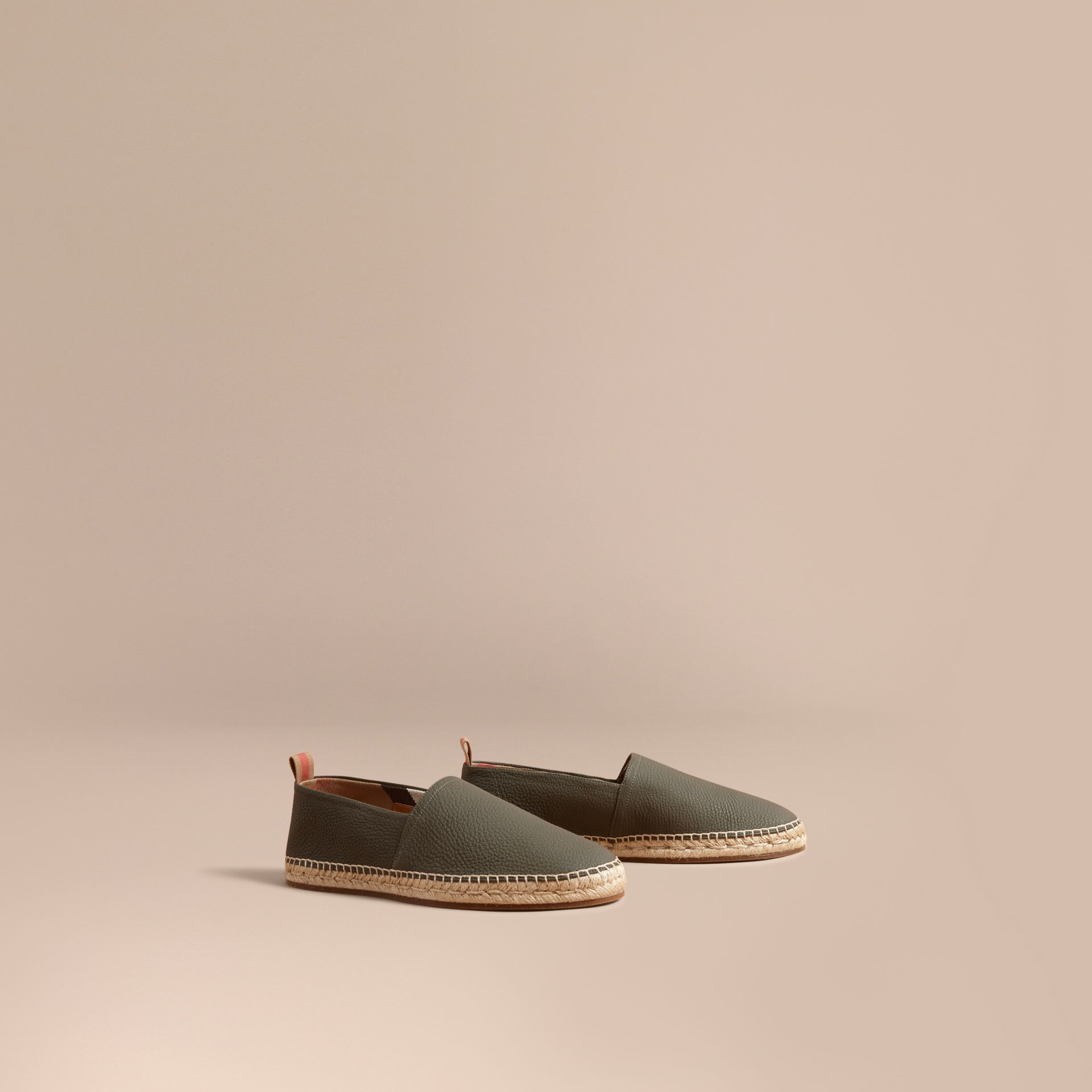 Check Detail Leather Espadrilles Khaki - gallery image 1