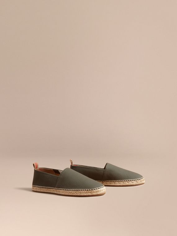 Check Detail Leather Espadrilles in Khaki