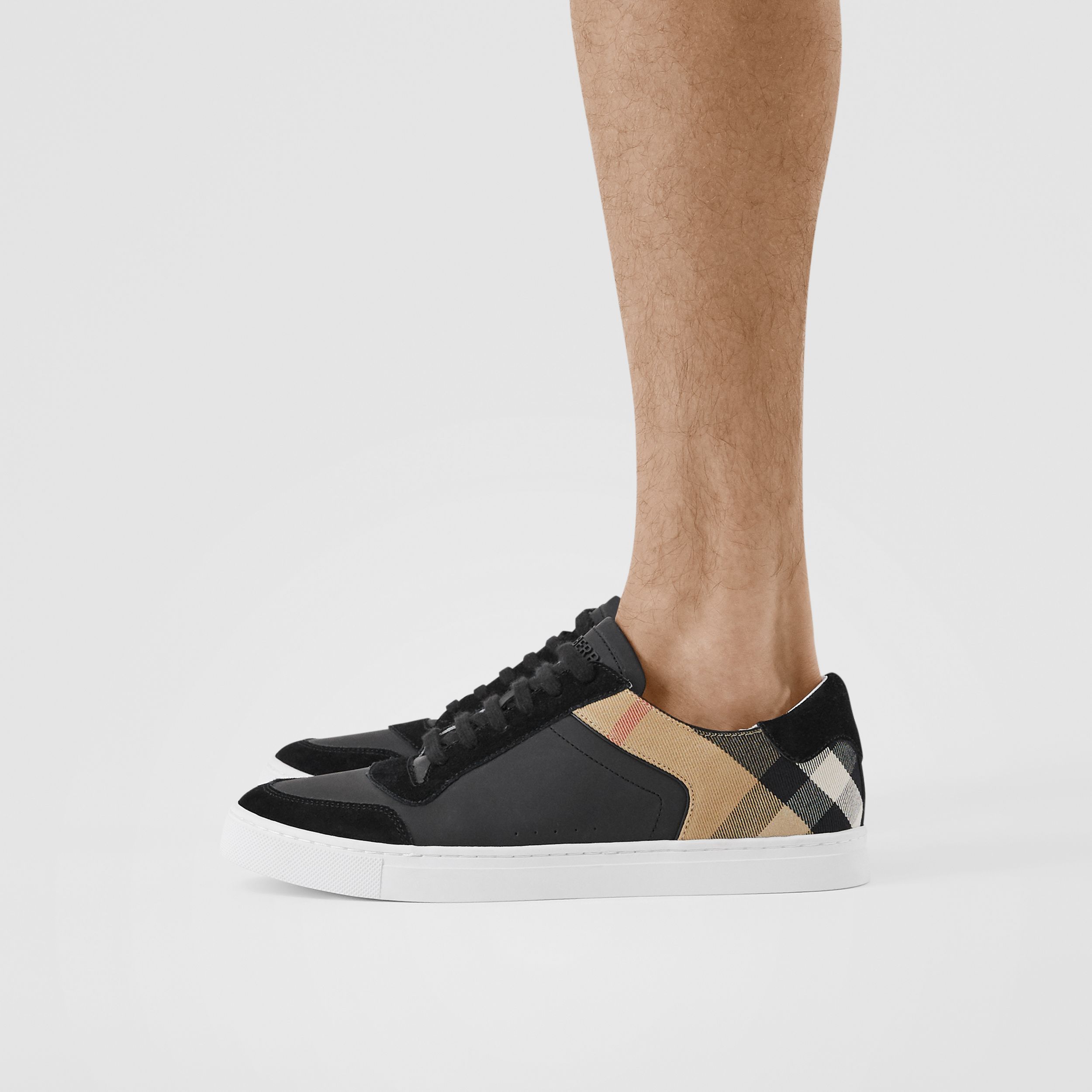 Leather, Suede and House Check Sneakers in Black - Men | Burberry United States - 3