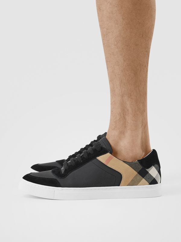 Leather, Suede and House Check Sneakers in Black - Men | Burberry United States - cell image 2
