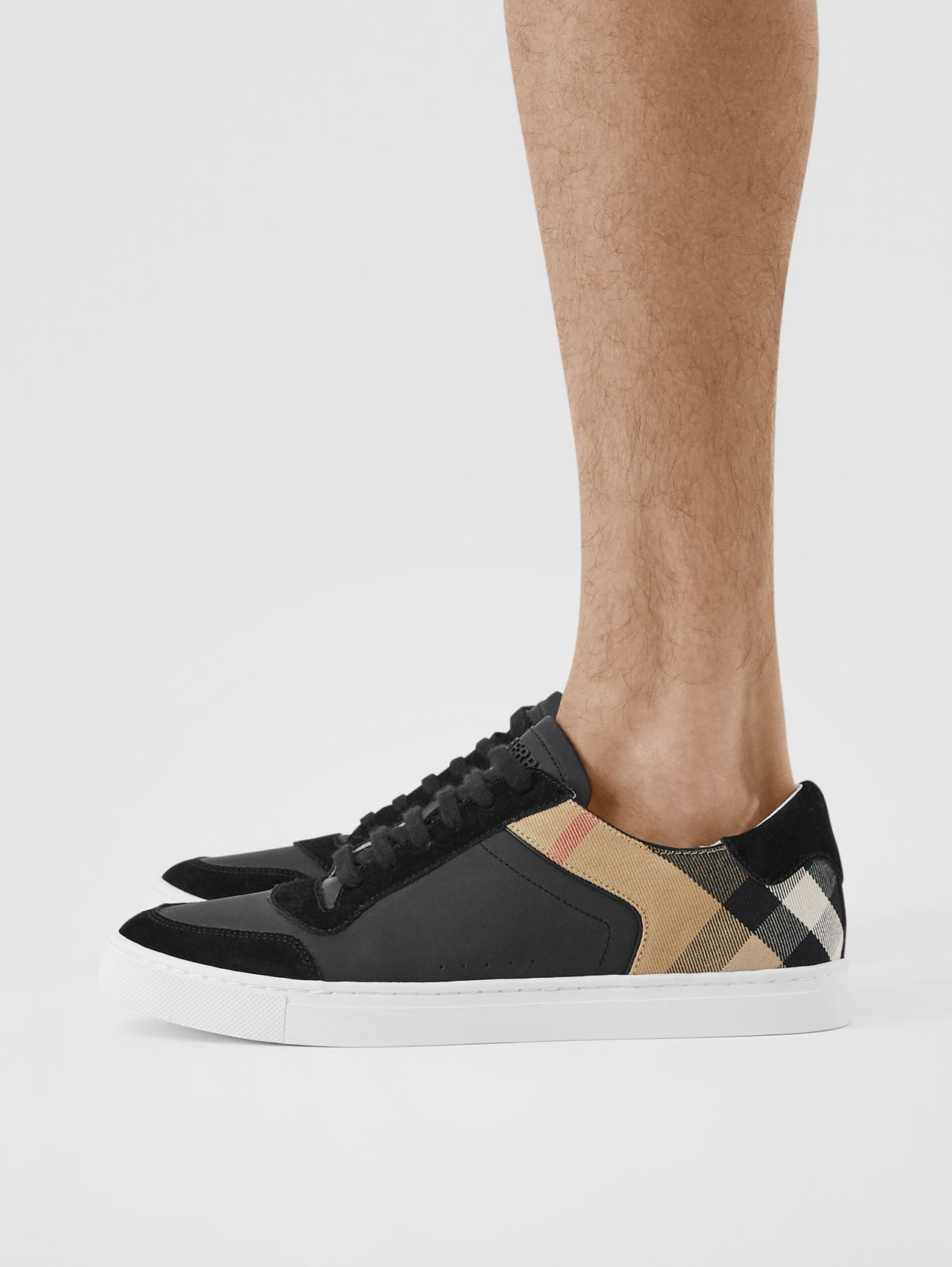 Leather, Suede and House Check Sneakers (Black)