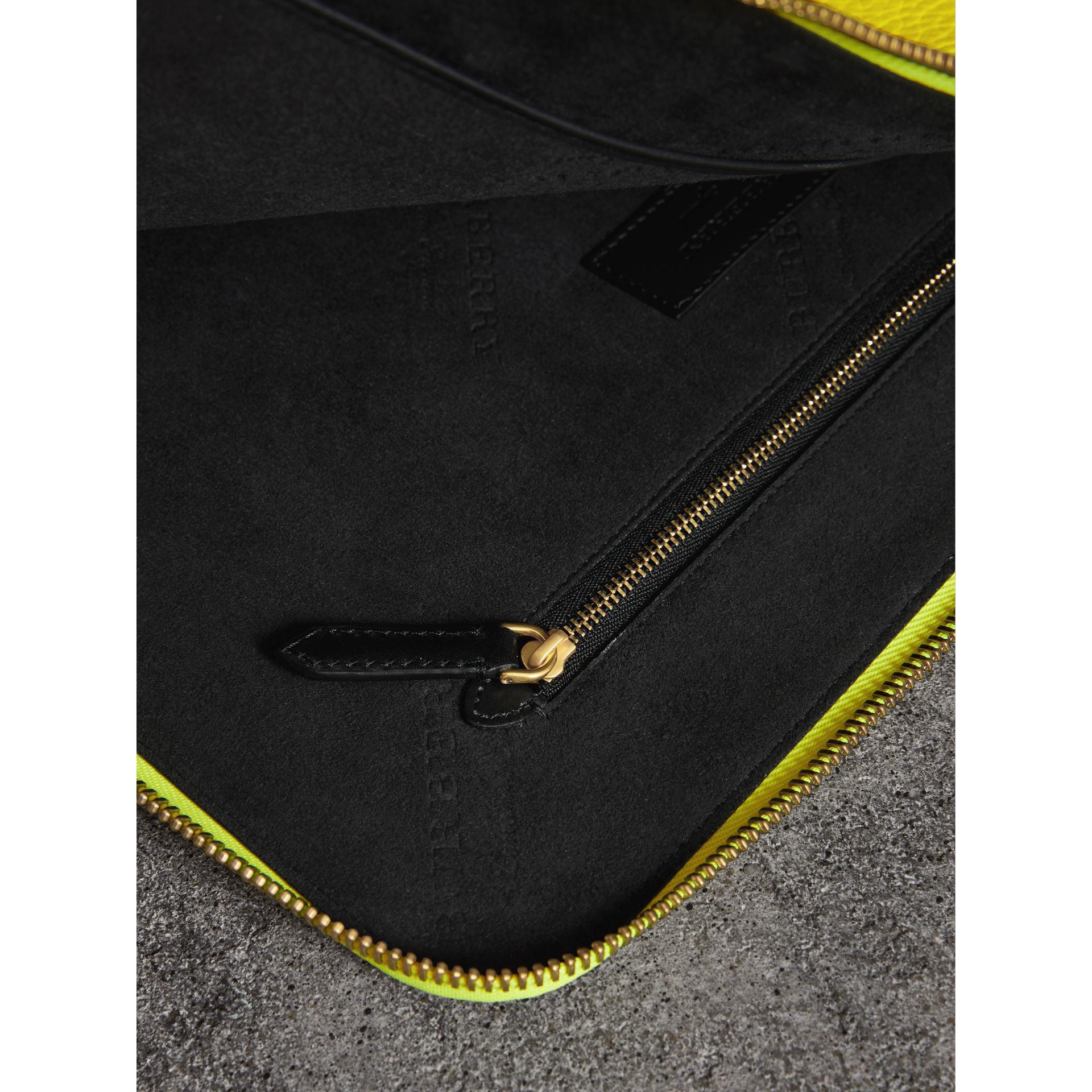 Embossed Leather Document Case in Neon Yellow - Men | Burberry - gallery image 3