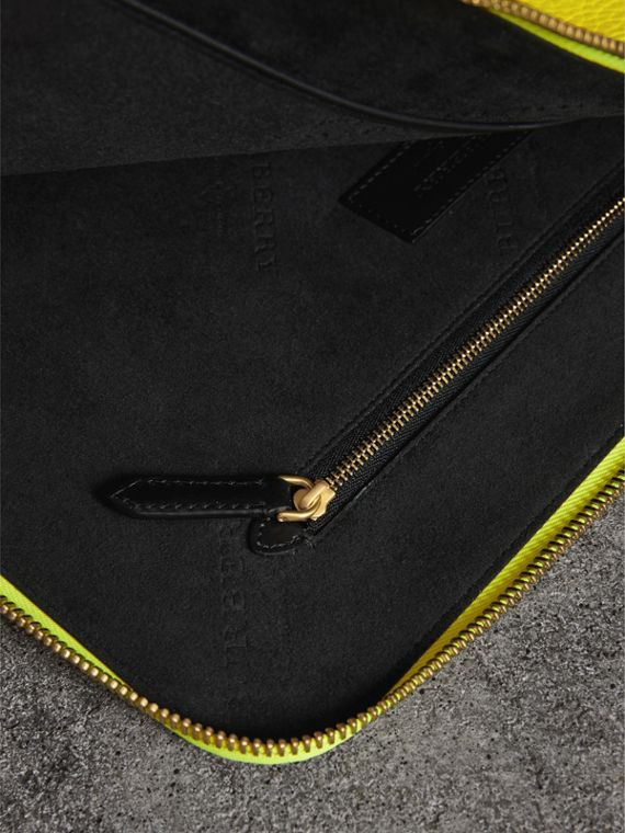 Embossed Leather Document Case in Neon Yellow - Men | Burberry - cell image 3