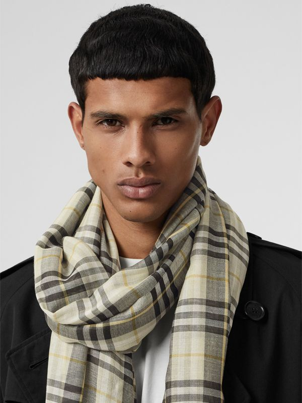 Vintage Check Lightweight Wool Silk Scarf in Sage Green | Burberry Singapore - cell image 3