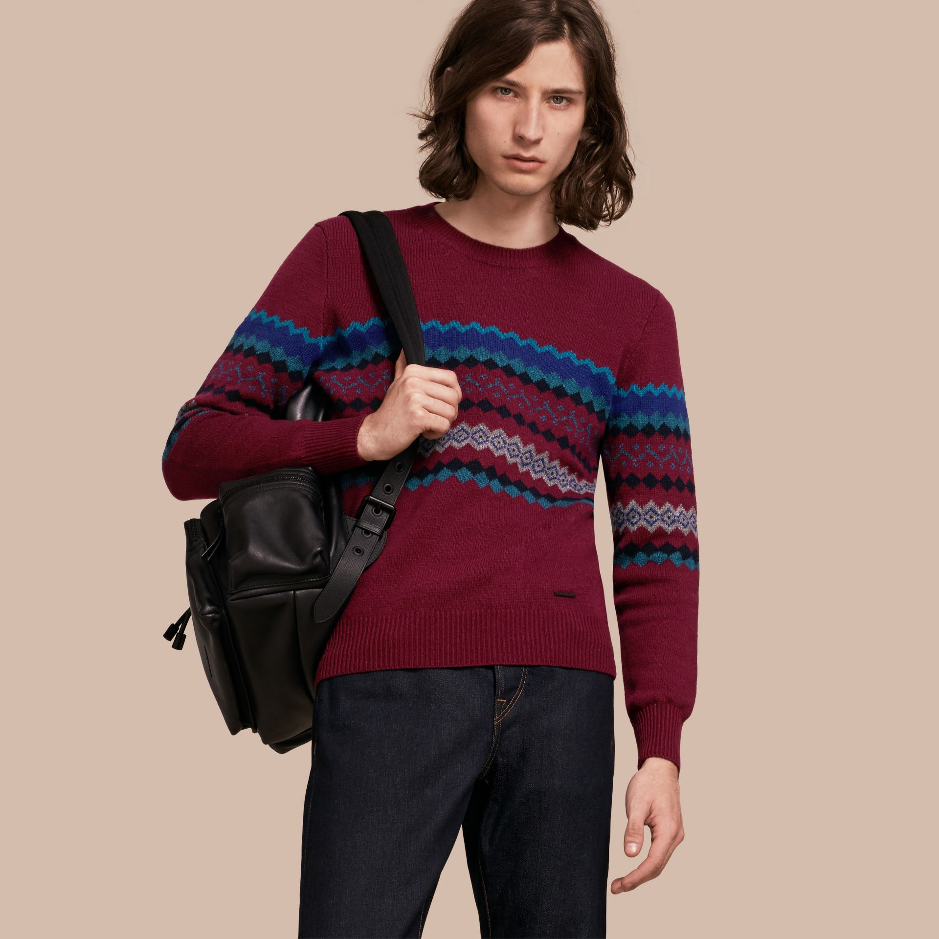 Burgundy Fair Isle Intarsia Cashmere Wool Sweater - gallery image 1