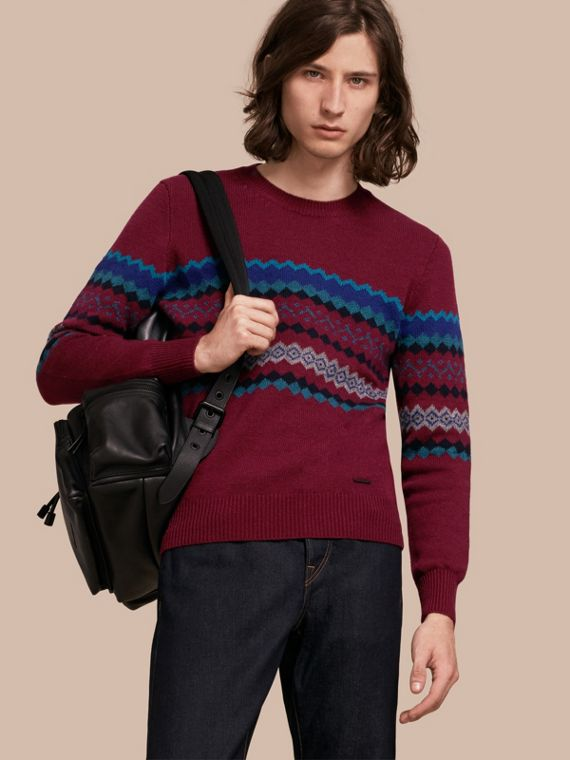 Fair Isle Intarsia Cashmere Wool Sweater