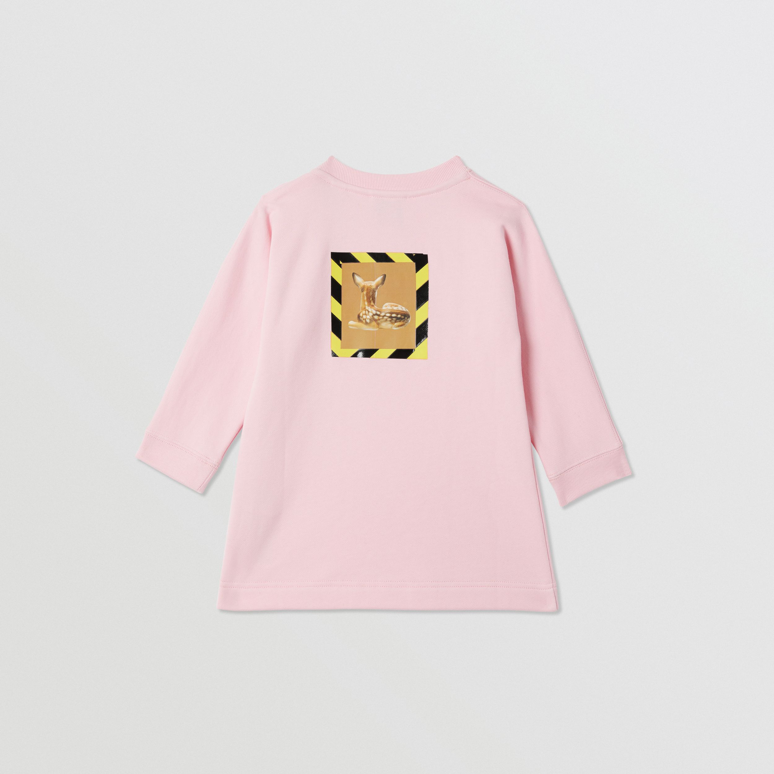 Deer Print Cotton Sweater Dress in Candy Pink - Children | Burberry - 4