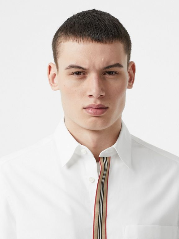 Icon Stripe Detail Stretch Cotton Poplin Shirt in White - Men | Burberry United Kingdom - cell image 1