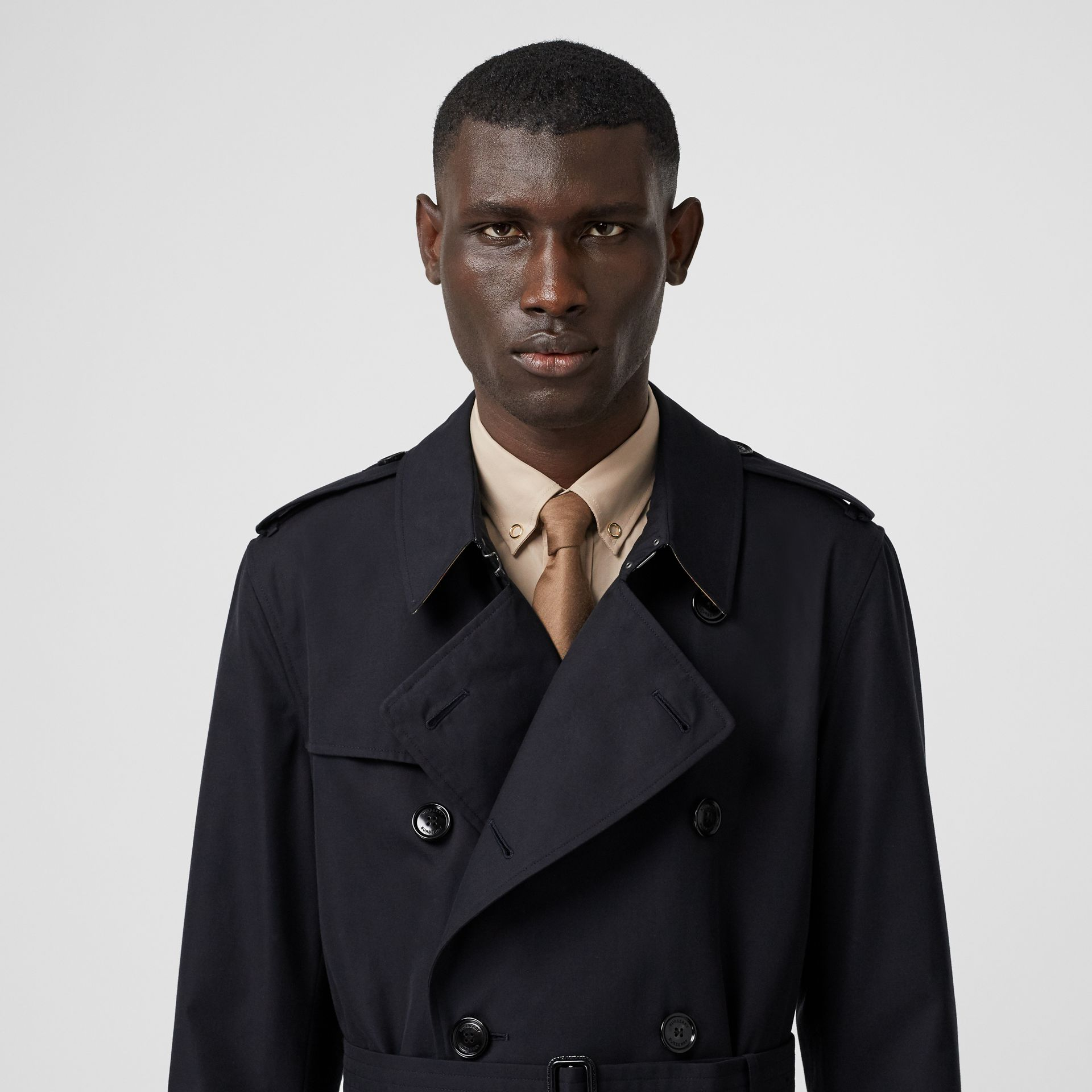 Cotton Gabardine Trench Coat in Midnight - Men | Burberry - gallery image 1