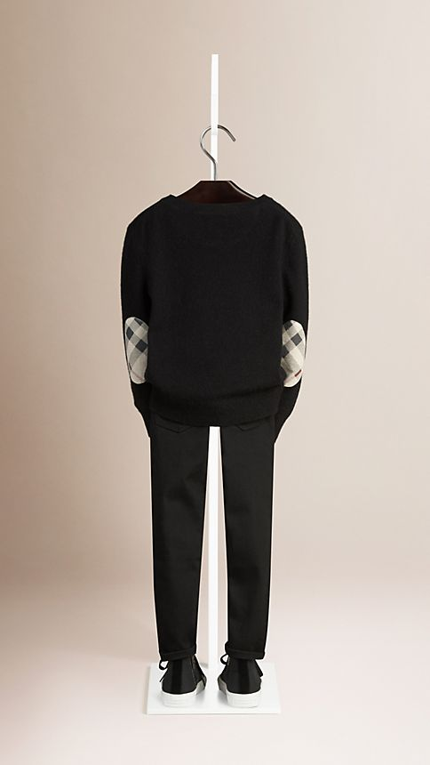 Black Check Elbow Patch Cashmere Sweater - Image 2