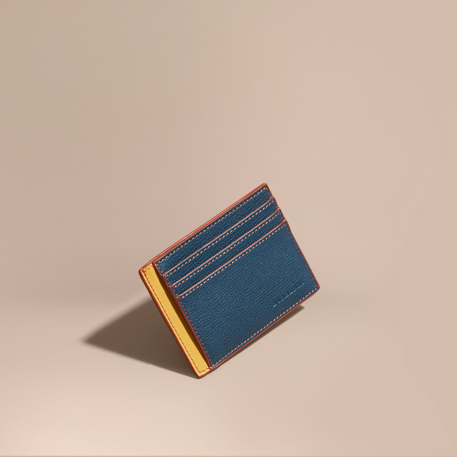 Colour Block Leather Card Case Marine Blue - gallery image 1