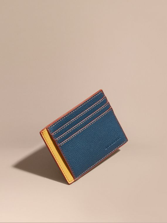 Colour Block Leather Card Case Marine Blue