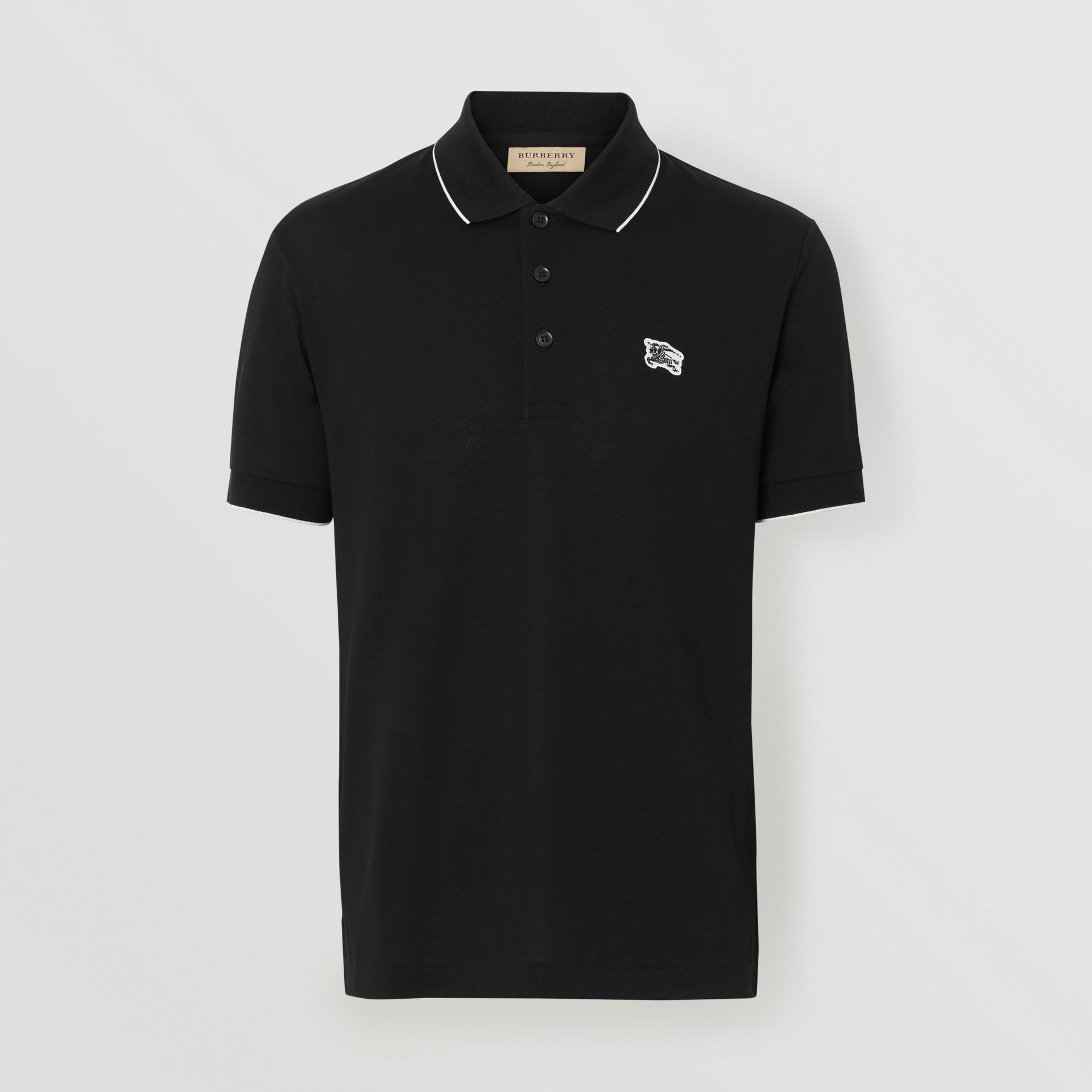 Tipped Cotton Piqué Polo Shirt in Black - Men | Burberry - gallery image 3