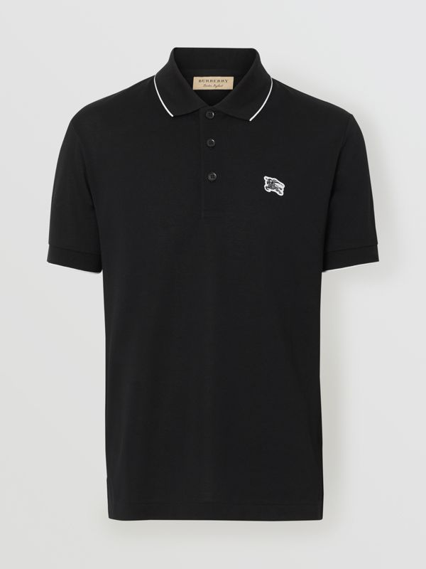 Tipped Cotton Piqué Polo Shirt in Black - Men | Burberry United Kingdom - cell image 3