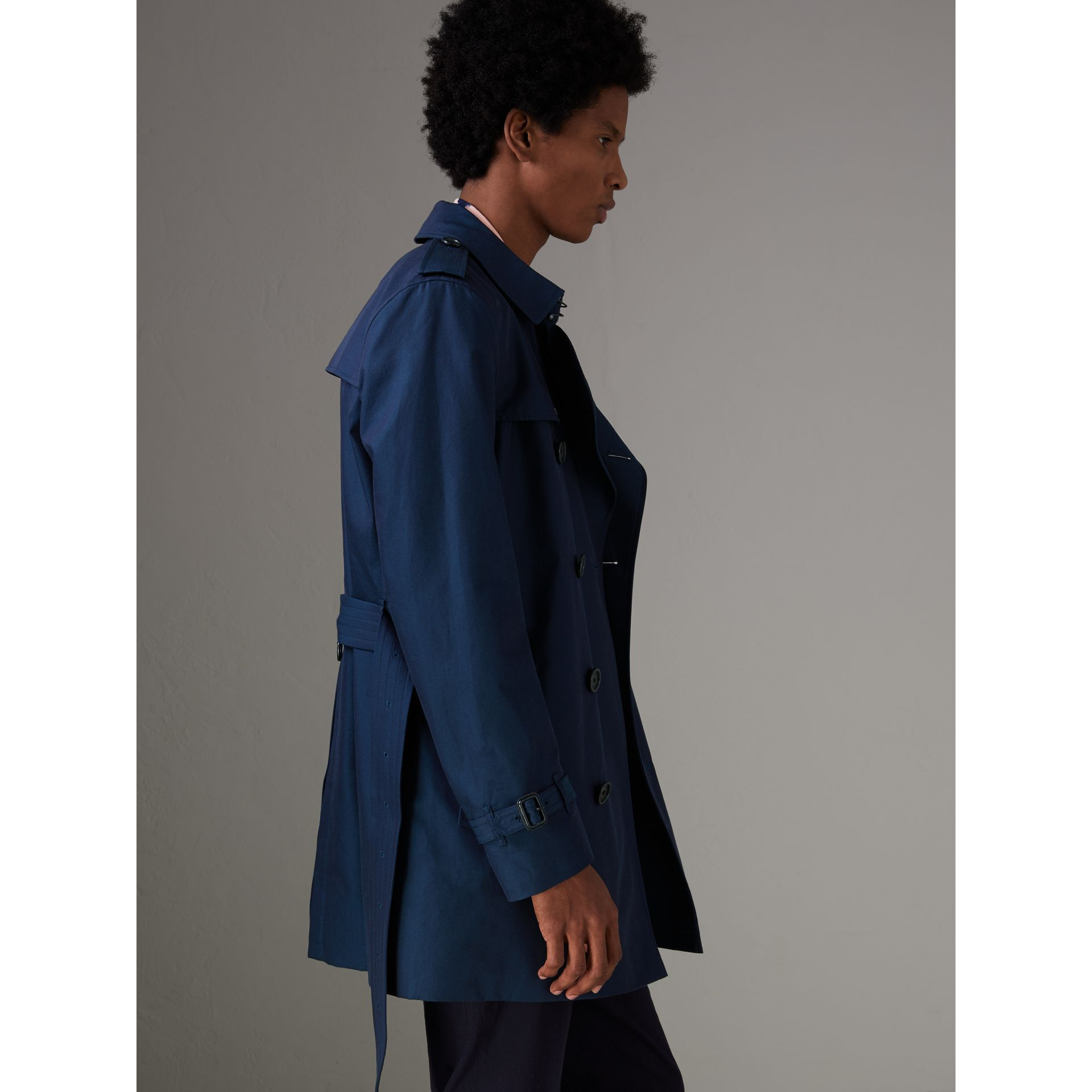 Cotton Gabardine Trench Coat in Teal Blue - Men | Burberry Singapore - gallery image 2