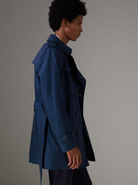 Cotton Gabardine Trench Coat in Teal Blue - Men | Burberry Singapore - cell image 2