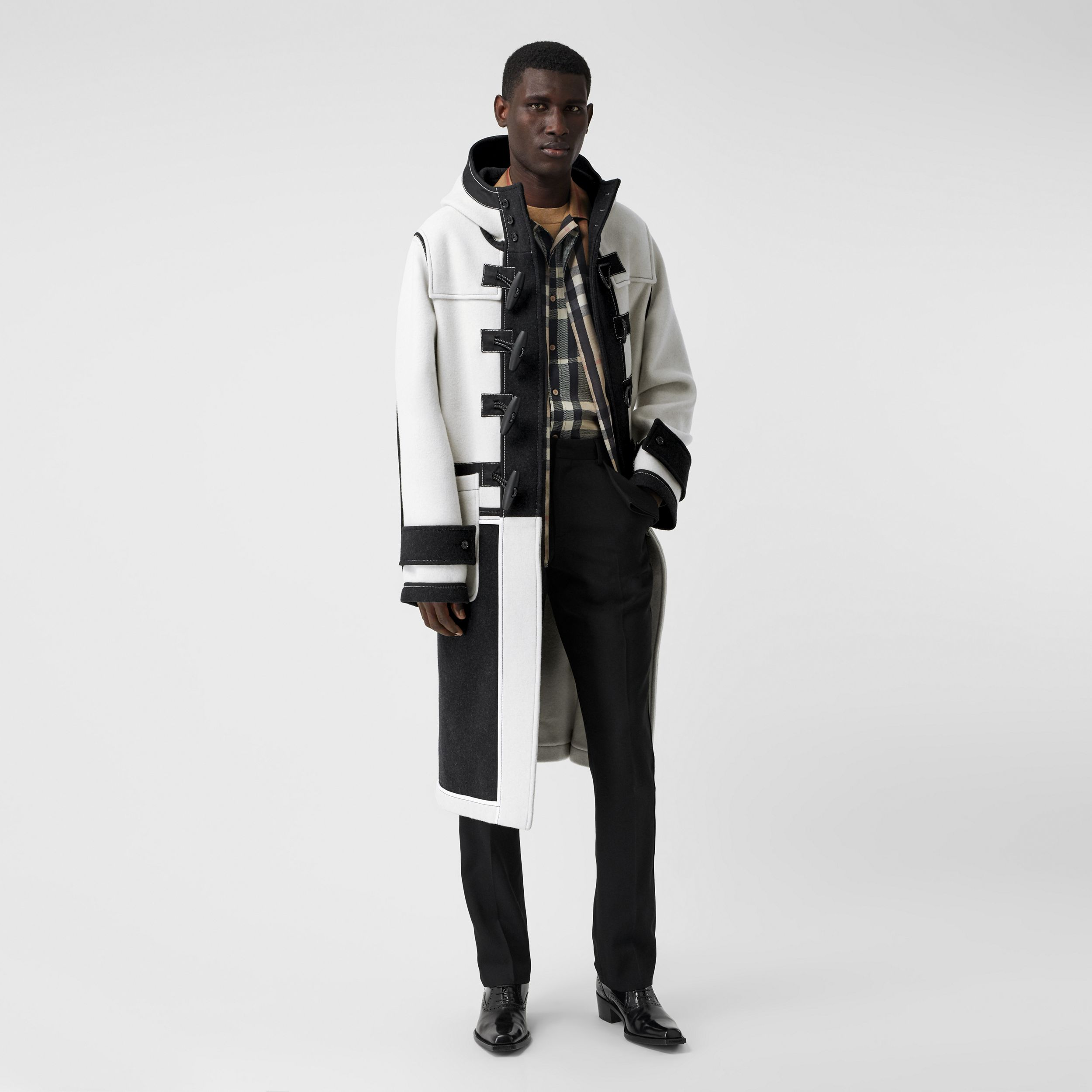 Two-tone Double-faced Wool Duffle Coat in White | Burberry - 1