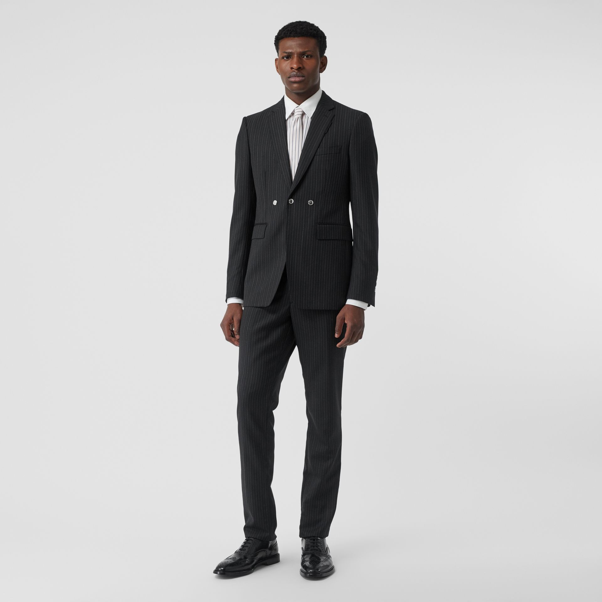 Classic Fit Pinstriped Wool Tailored Trousers in Black - Men | Burberry - gallery image 0