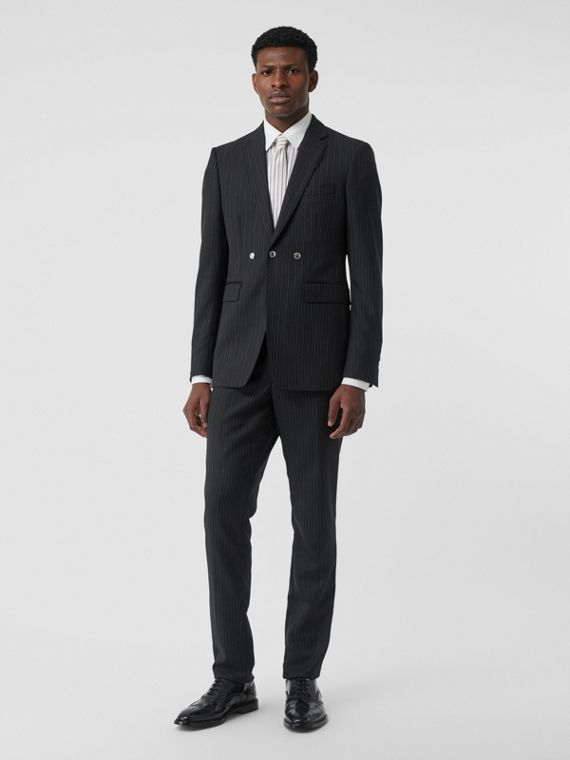 Pantalon de costume classique en laine à fines rayures (Noir)
