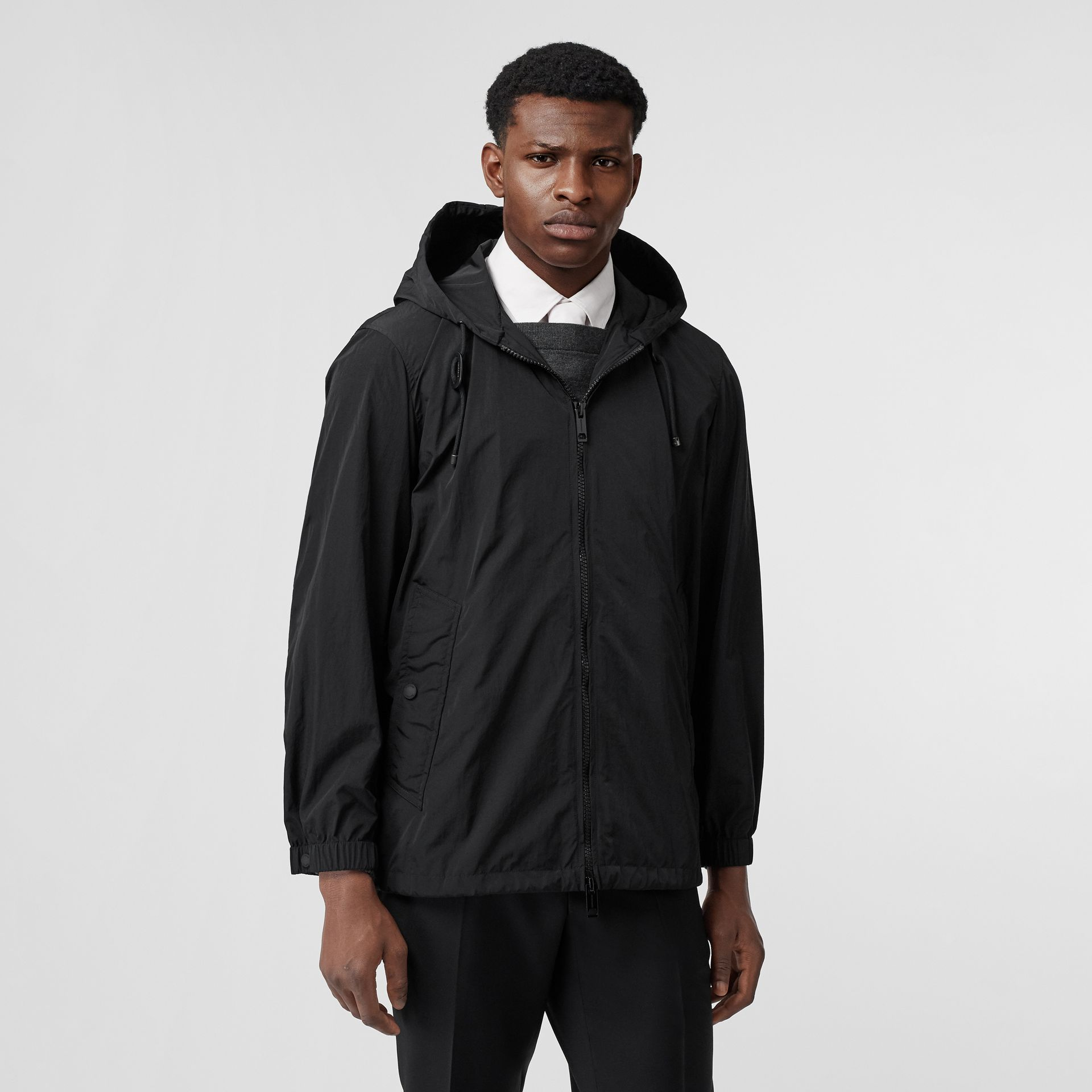 Packaway Lightweight Hooded Jacket in Black - Men | Burberry Australia - gallery image 5