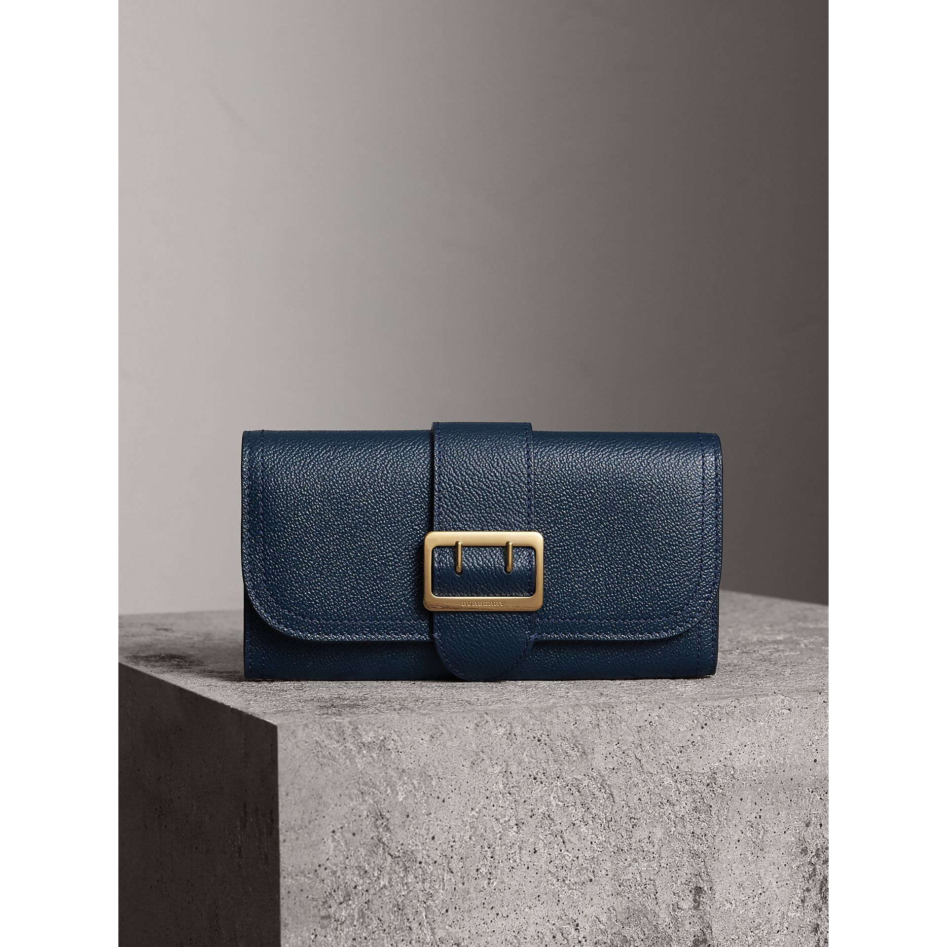 Textured Leather Continental Wallet in Blue Carbon - Women | Burberry Australia - gallery image 2