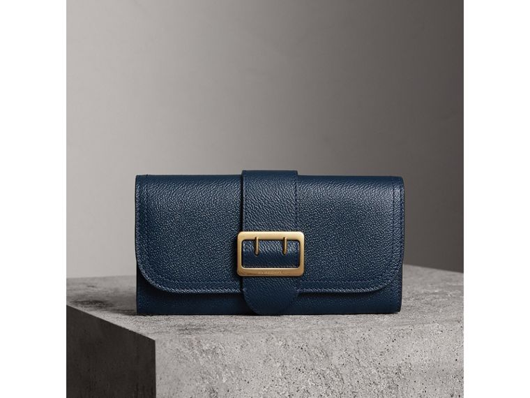 Textured Leather Continental Wallet in Blue Carbon - Women | Burberry Australia - cell image 1