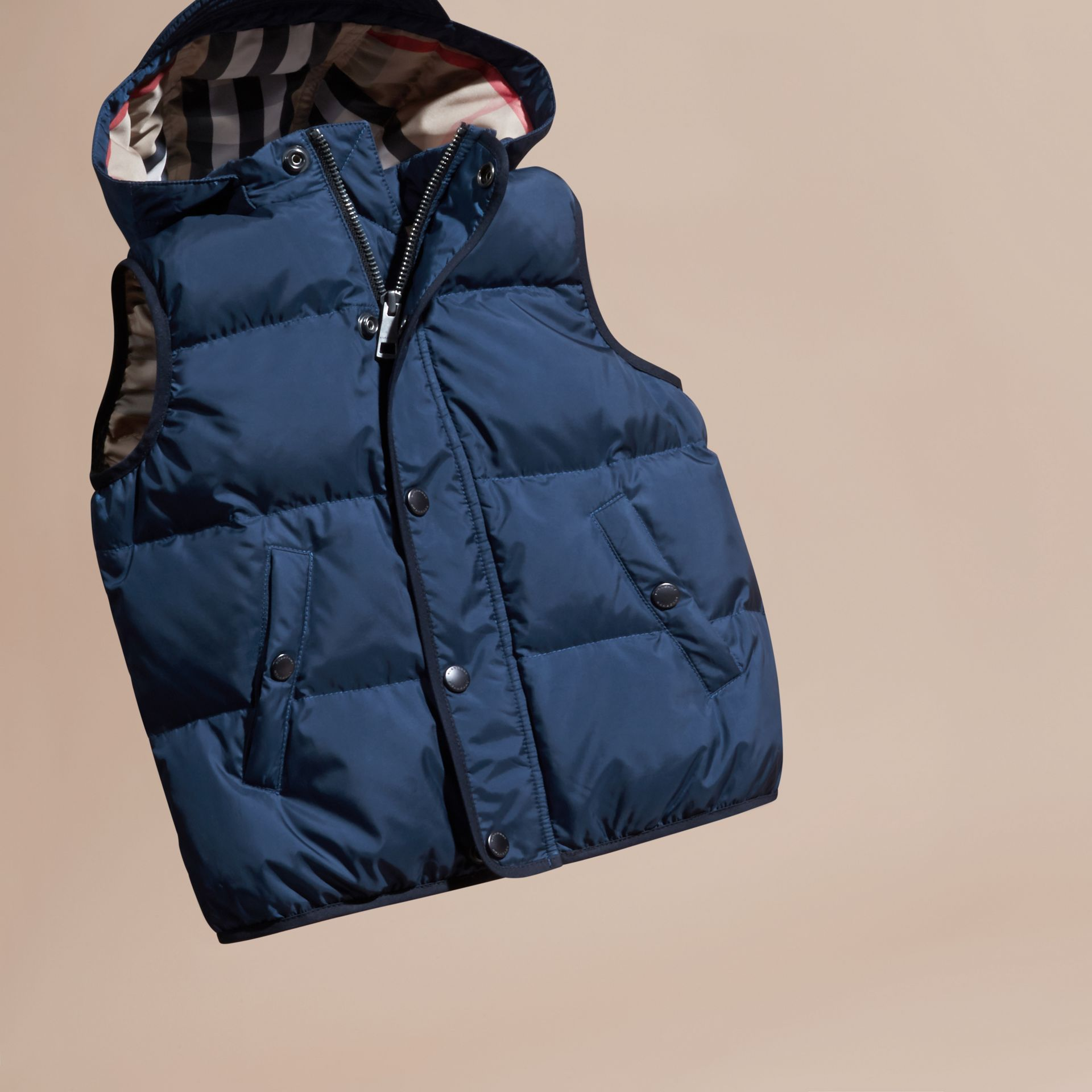 Down-filled Hooded Gilet in Ink Blue - Boy | Burberry - gallery image 3