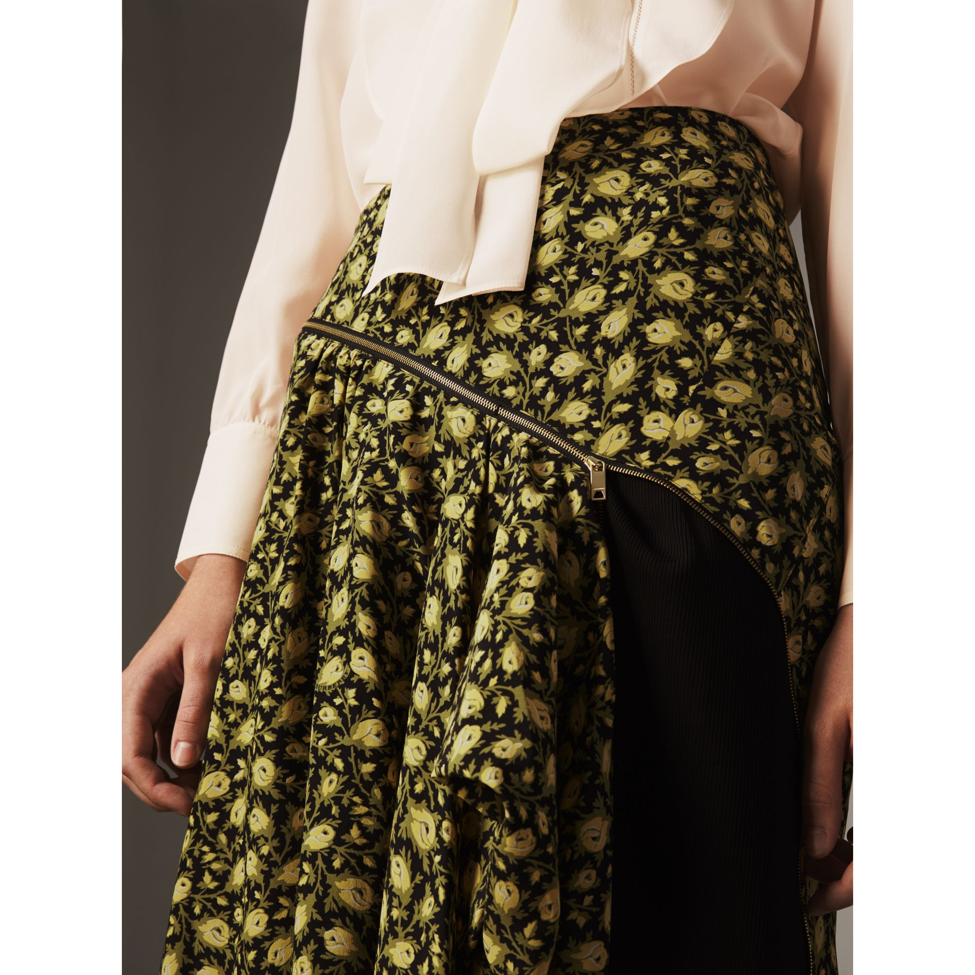 Zip Detail Floral Silk Draped Skirt in Pale Saffron Yellow - Women | Burberry - gallery image 2