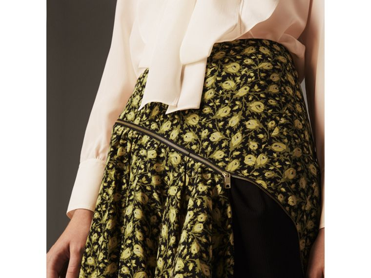 Zip Detail Floral Silk Draped Skirt in Pale Saffron Yellow - Women | Burberry - cell image 1