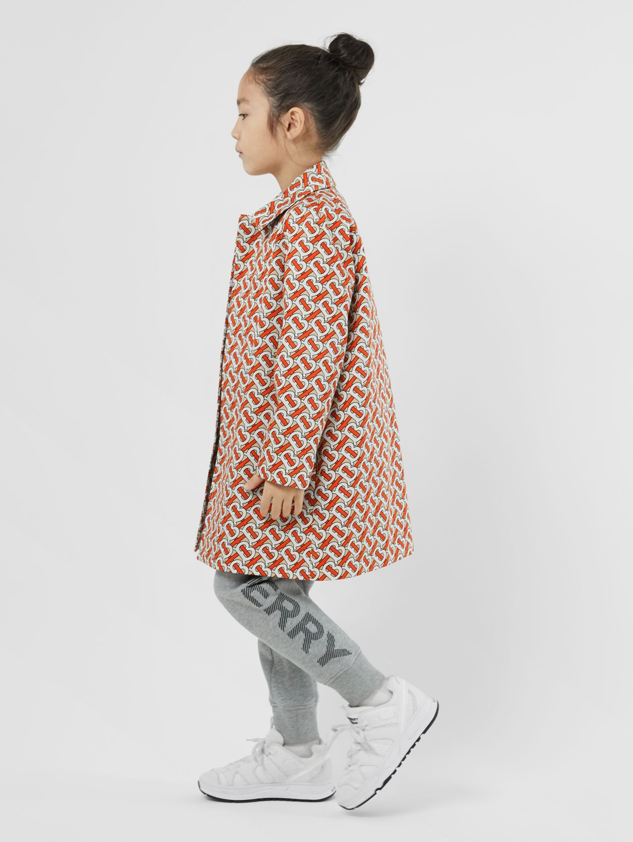 Monogram Print Cotton Car Coat (Vermilion Red)