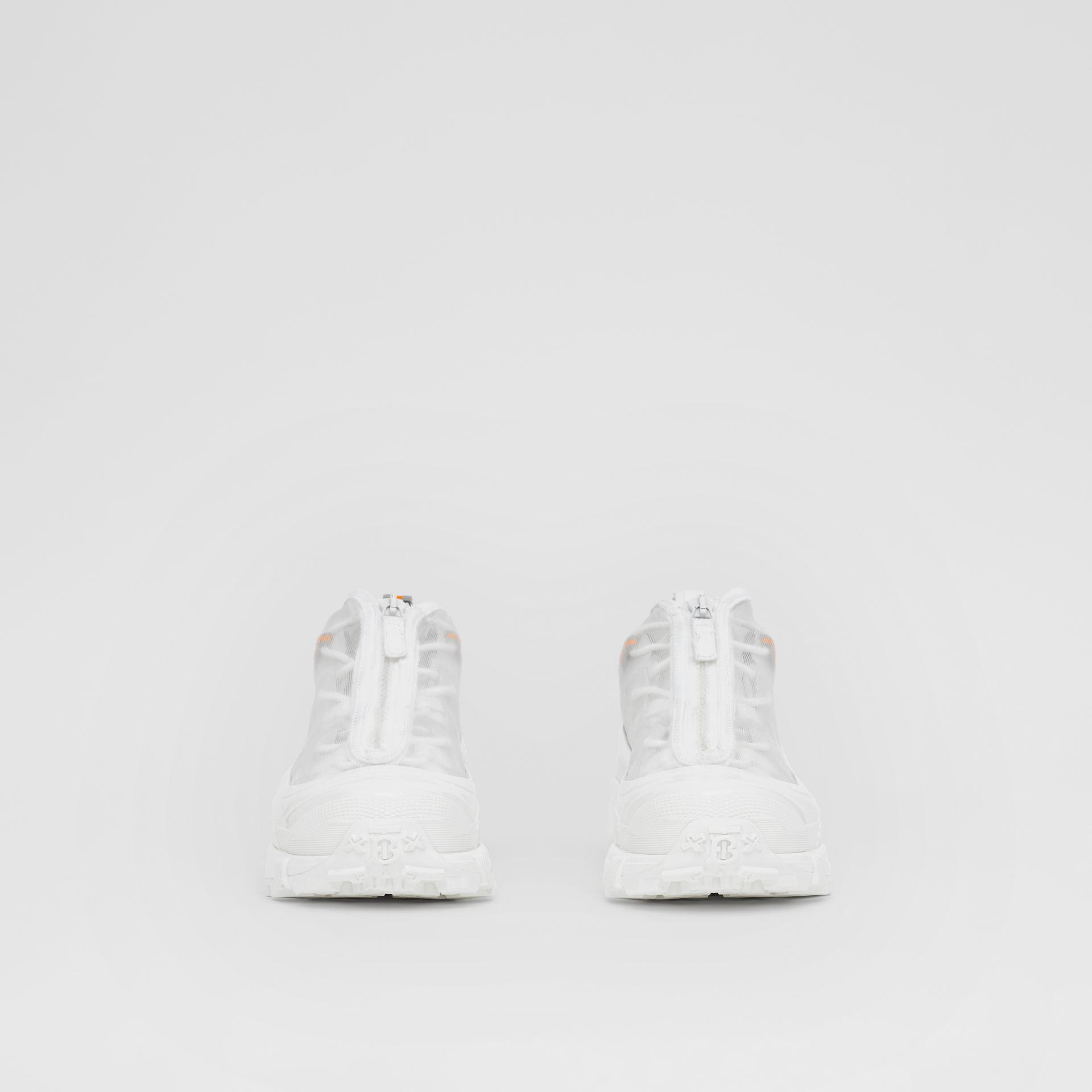 Nylon and Suede Arthur Sneakers in White - Women   Burberry United States - gallery image 3