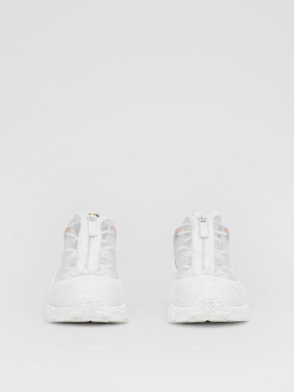 Nylon and Suede Arthur Sneakers in White - Women | Burberry Canada - cell image 3