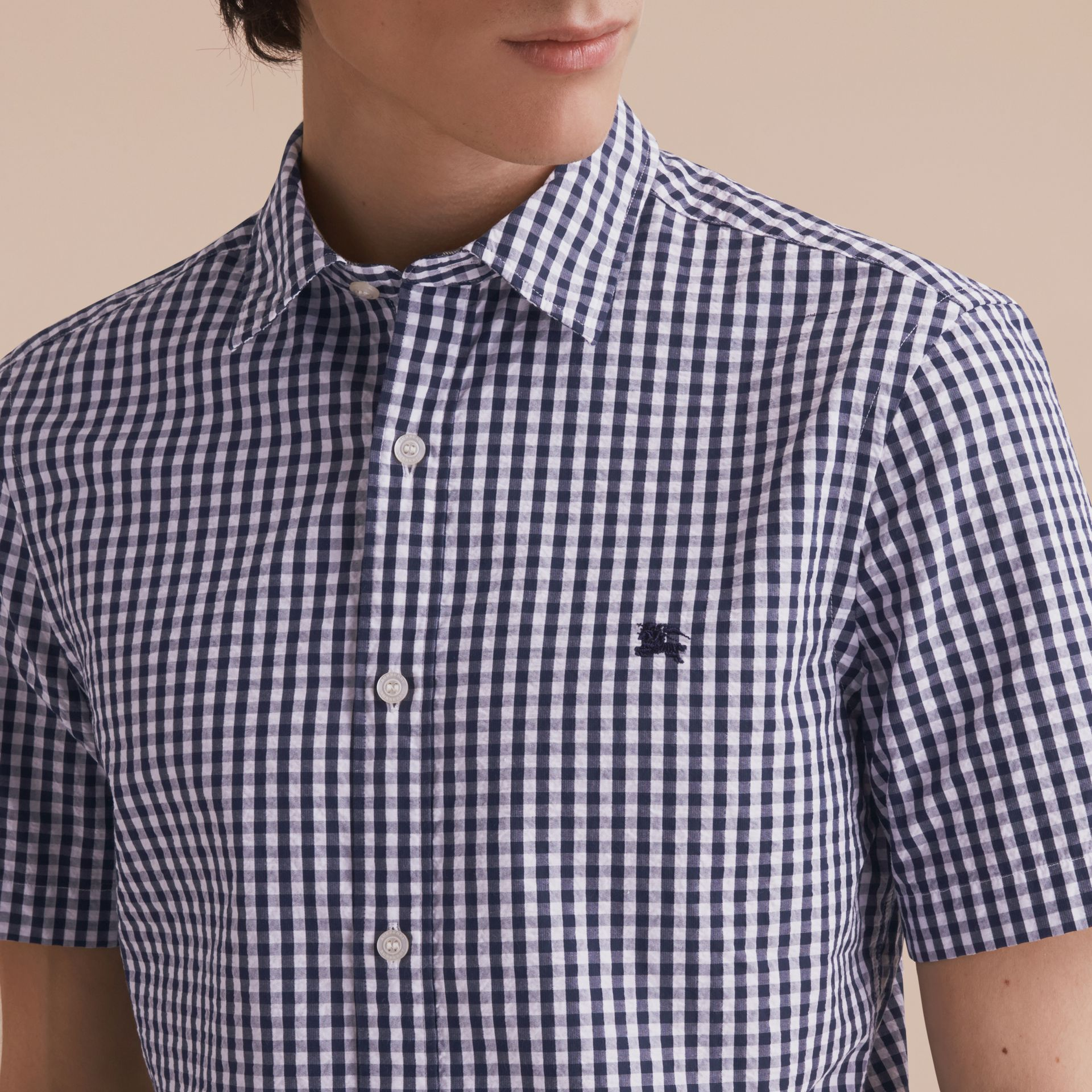 Short-sleeved Gingham Cotton Poplin Shirt in Ink Blue - Men | Burberry - gallery image 5