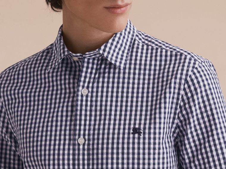Short-sleeved Gingham Cotton Poplin Shirt in Ink Blue - Men | Burberry - cell image 4