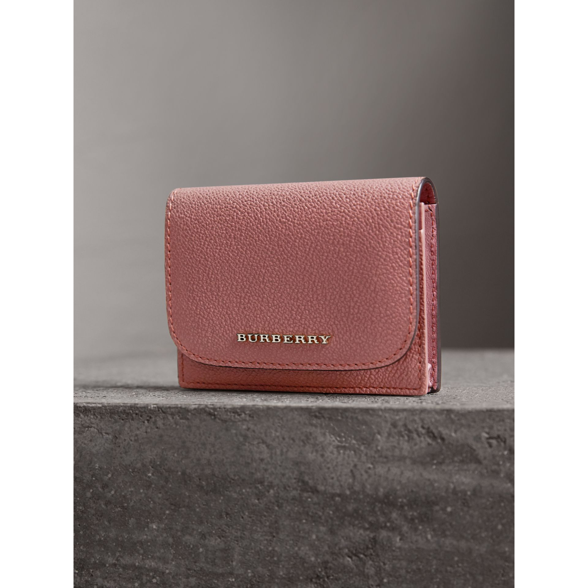 Grainy Leather Card Case in Dusty Pink - Women | Burberry - gallery image 1