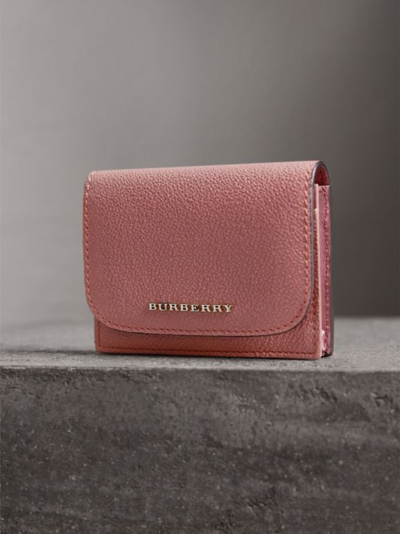 Grainy Leather Card Case in Dusty Pink - Women | Burberry - cell image 1