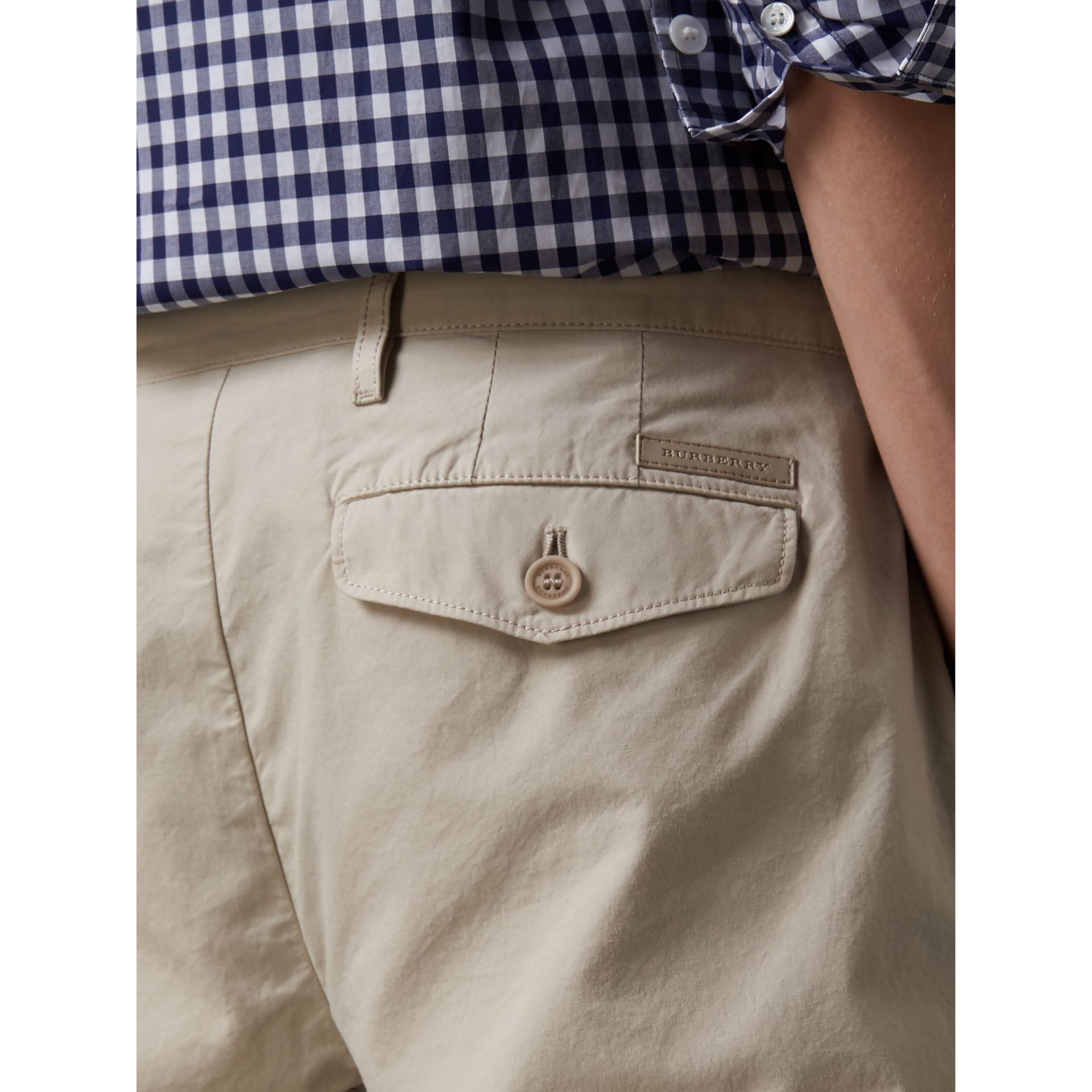 Slim Fit Cotton Poplin Chinos in Stone - Men | Burberry - gallery image 1