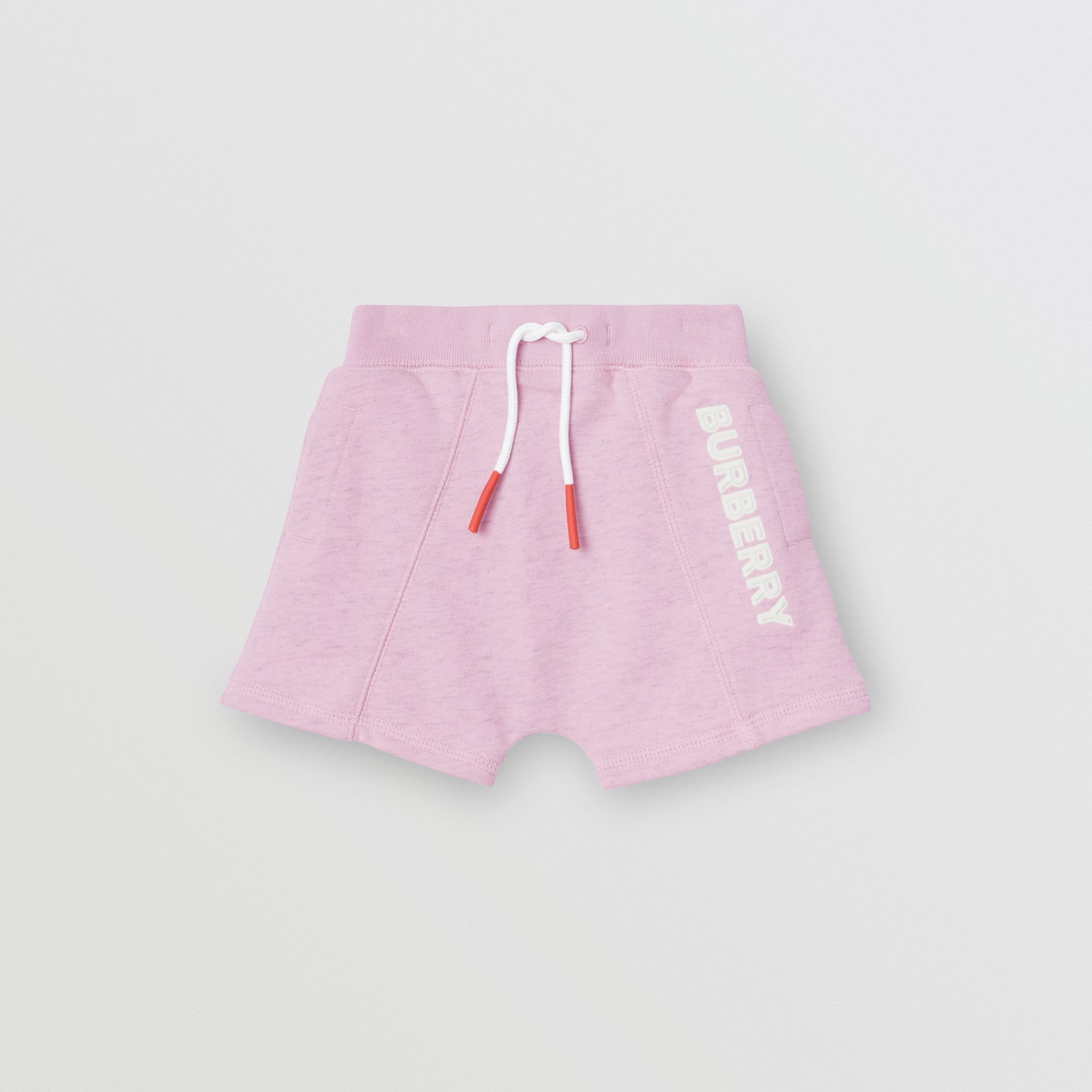 Logo Detail Cotton Drawcord Shorts in Pale Neon Pink - Children | Burberry Canada - gallery image 0