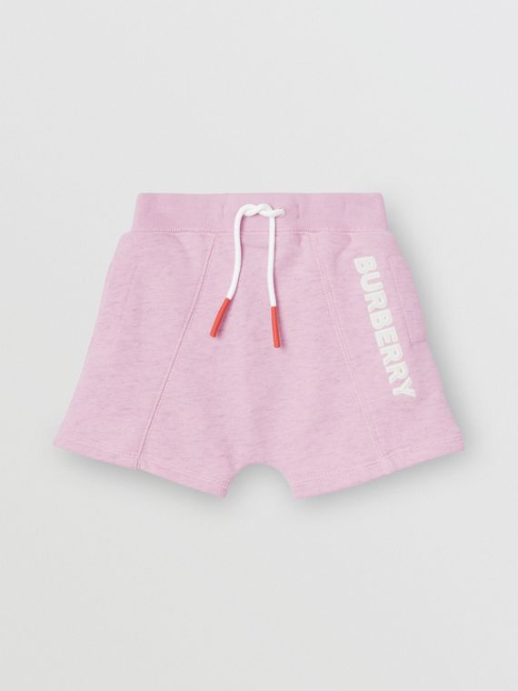 Logo Detail Cotton Drawcord Shorts in Pale Neon Pink