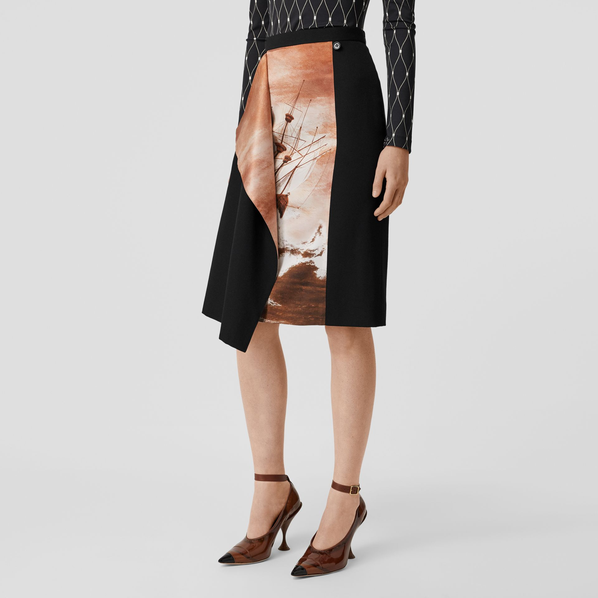Ship Print Silk Panel Wool Pencil Skirt in Black - Women | Burberry - gallery image 4