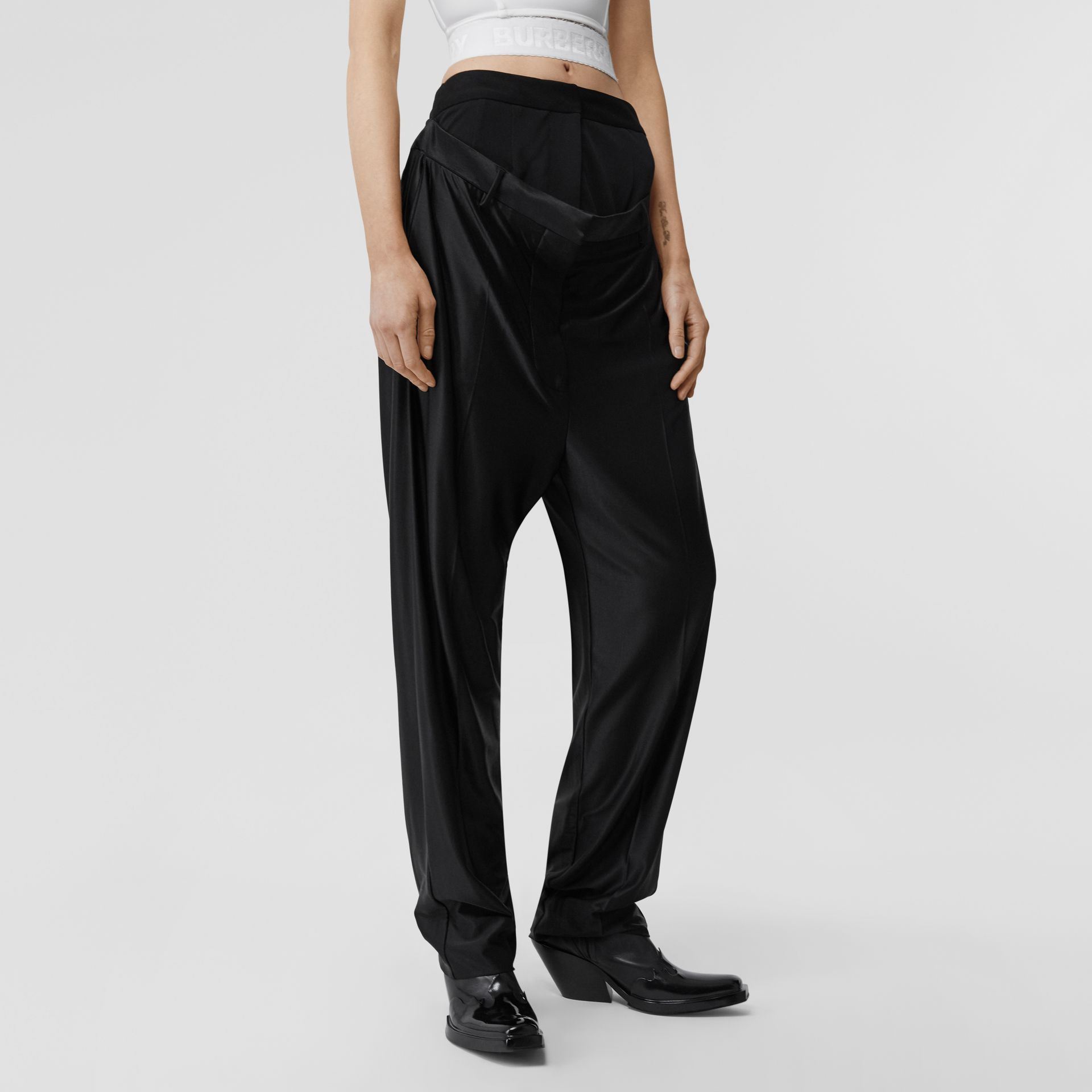 Calças de malha com cintura dupla (Preto) - Mulheres | Burberry - galeria de imagens 4