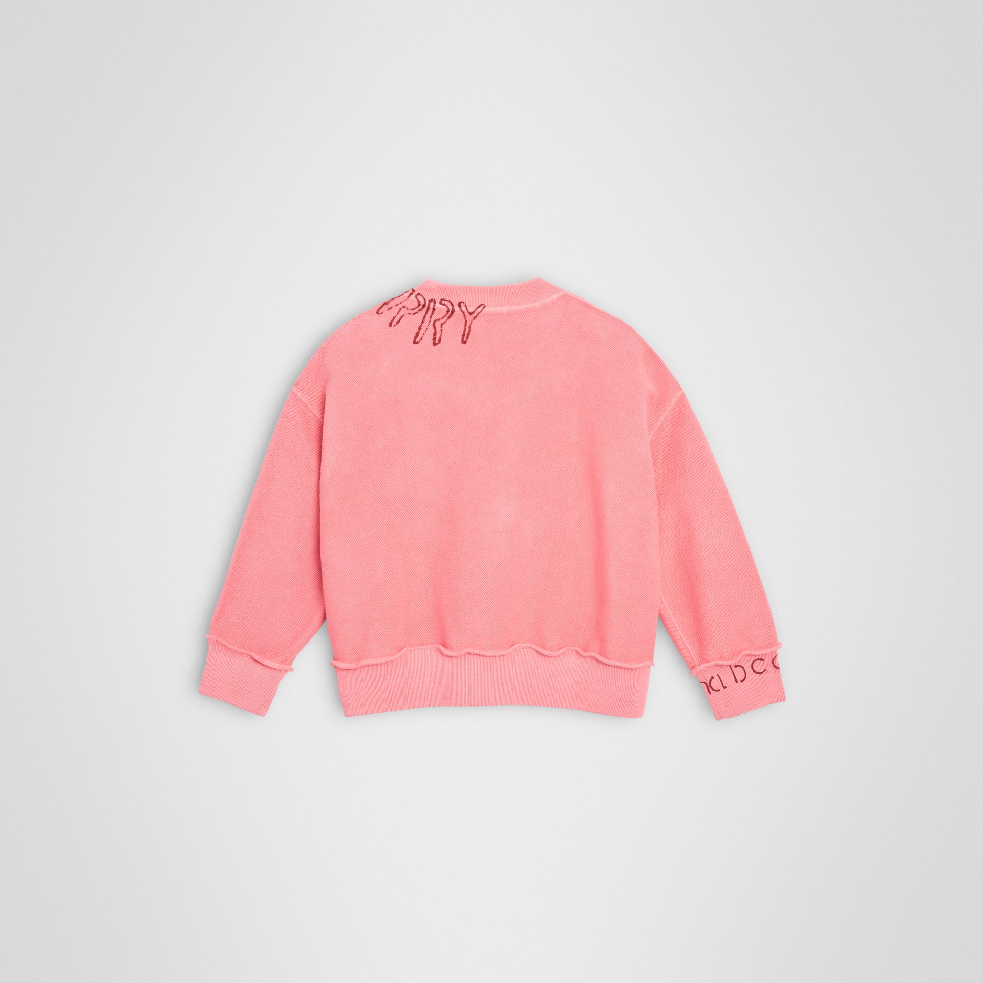 Stencil Logo Print Cotton Sweatshirt in Bright Pink | Burberry United Kingdom - gallery image 3