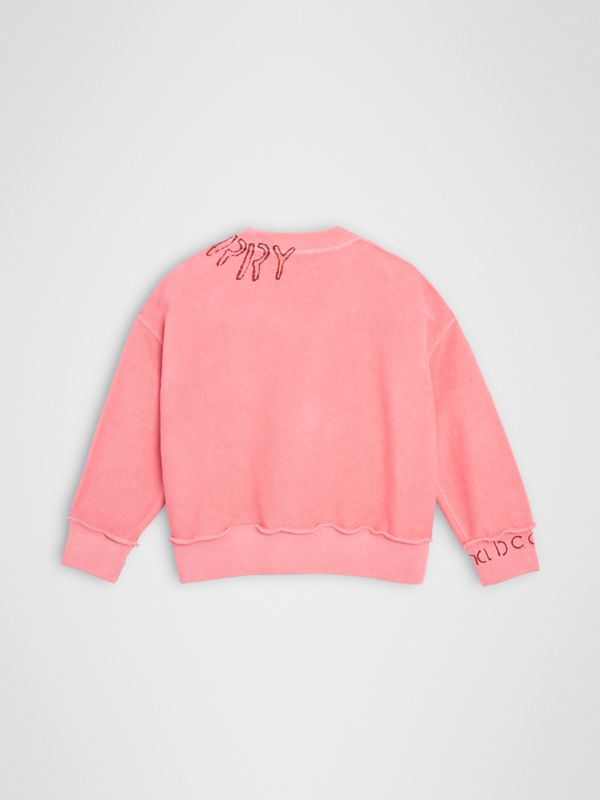 Stencil Logo Print Cotton Sweatshirt in Bright Pink | Burberry - cell image 3