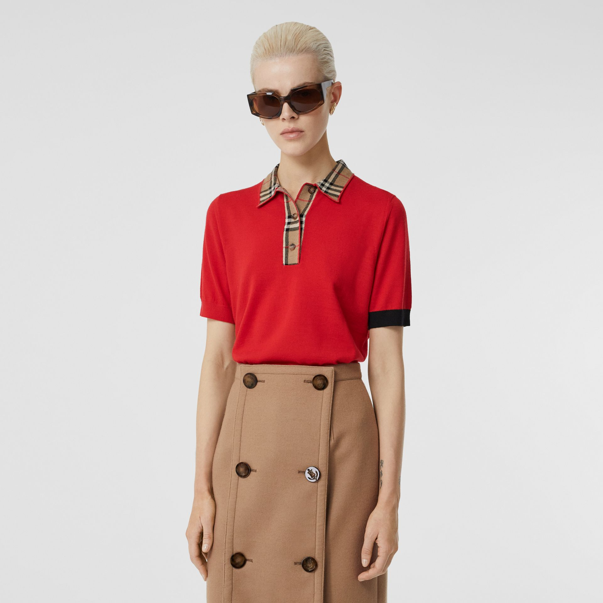 Vintage Check Trim Merino Wool Polo Shirt in Bright Red - Women | Burberry - gallery image 5